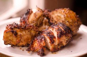 Grilled chicken, marinated in Thai spices and grill over charcoal grill.